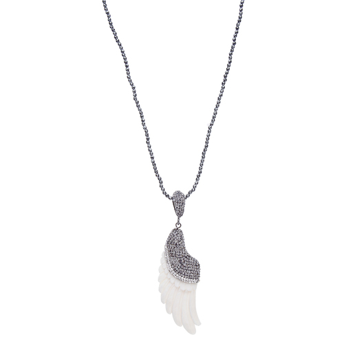 Bone Angel Wing Necklace, Hematite
