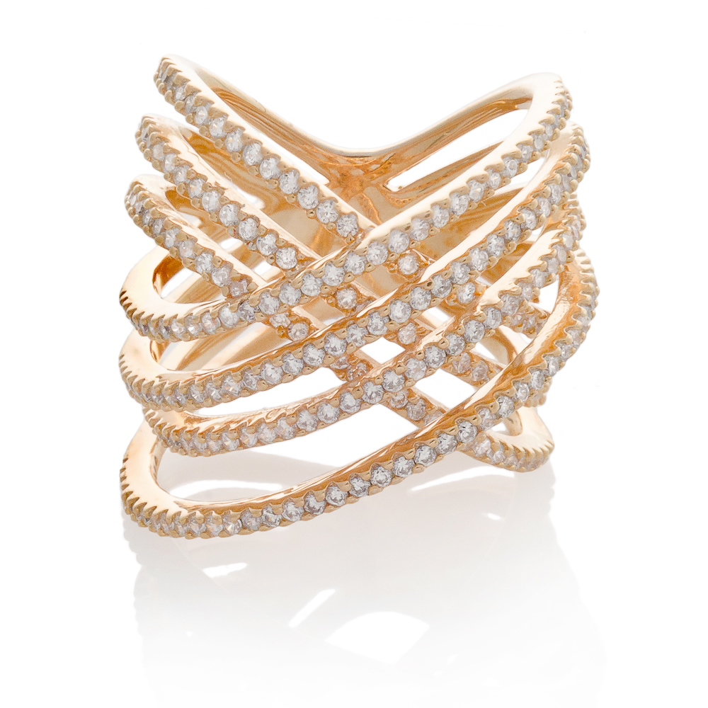 SEVEN ROW CRISSCROSS RING - ROSE GOLD