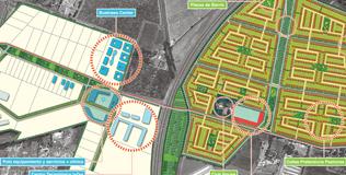 Propuesta de reconversión de un paño rural en el sector sur-poniente de Santiago estructurado en torno a un sistema de plazas y vías verdes caminables.