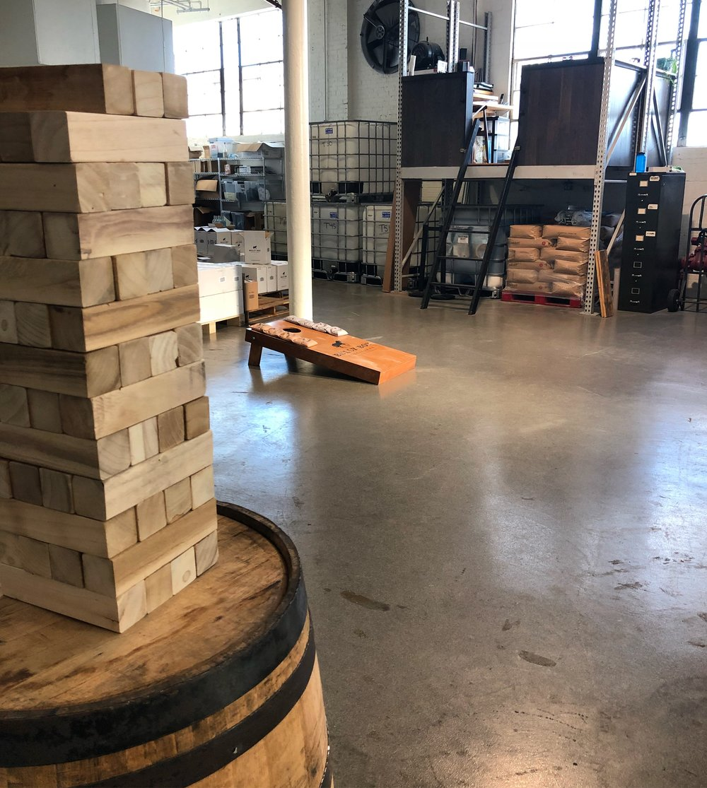 Cornhole & Jenga on the Production Floor