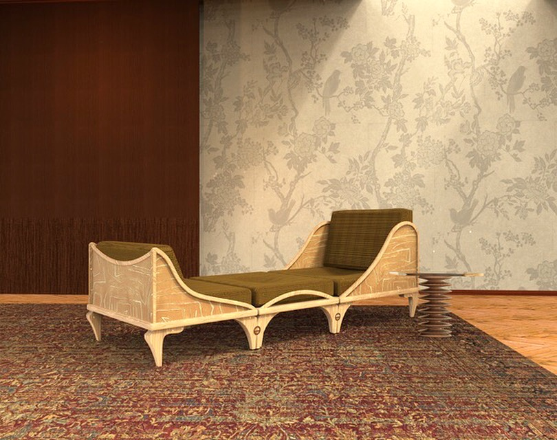 A day bed that is inspired of classic Louis XVI furniture. This day bed can be pulled apart so that two chairs can stand alone.