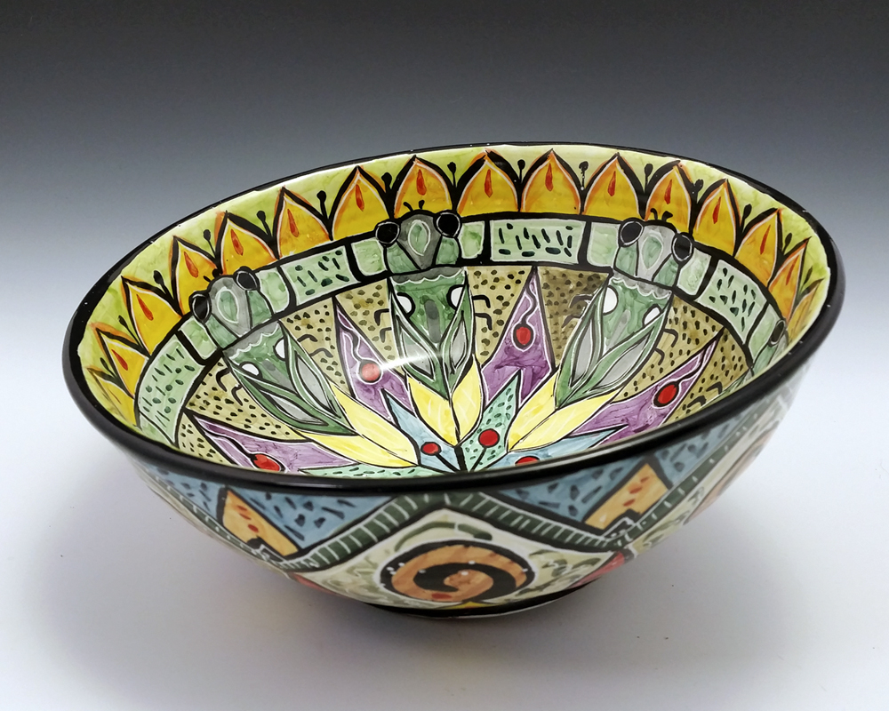 floral and ornate bowls clay lick creek pottery