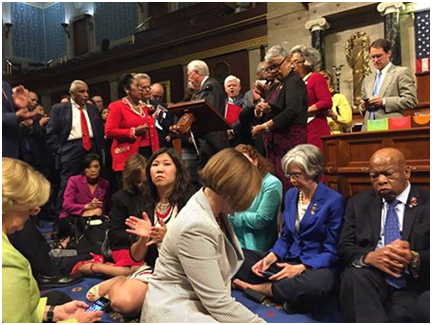 Photo rom the Democratic sit-in, courtesy of  East county Magazine