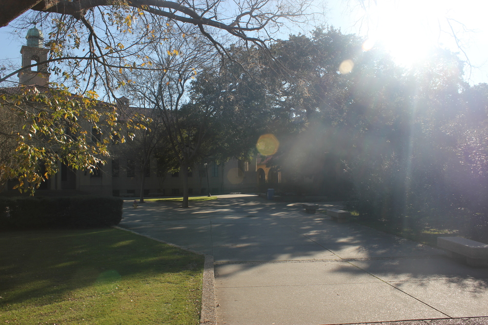 The sun shines into the university's quad, an area of buildings students go to for classes