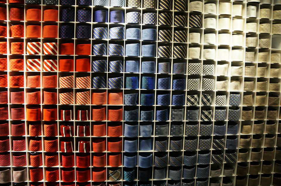 """""""Tie Wall at  Suit Supply ."""" cc: Emily O'Rourke"""