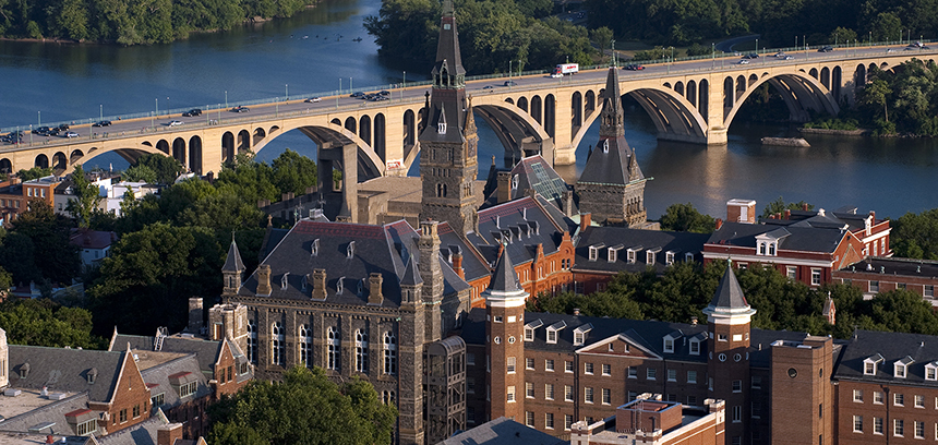 """""""Georgetown University Campus on the Potomac River.""""cc: Georgetown University"""