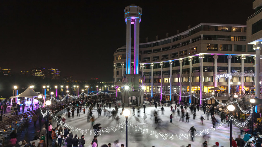 """""""A Saturday Night on the Georgetown Waterfront Ice Skating Rink.""""cc: The Washington Harbour"""