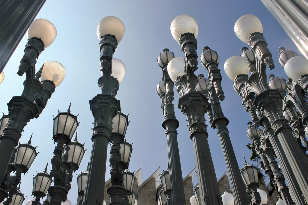 The Urban Light installation at  LACMA  in Los Angeles.