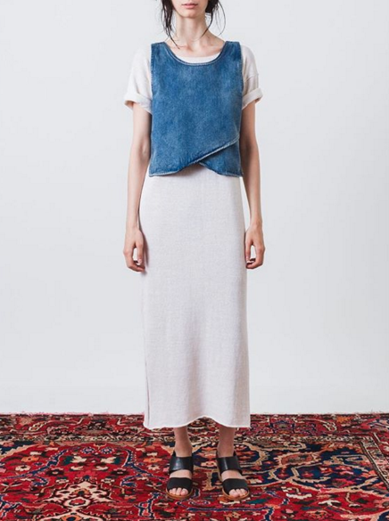 Photo from Frances May Instagram / Lauren Manoogian Split T Dress + Objects Without Meaning Denim Crop Top