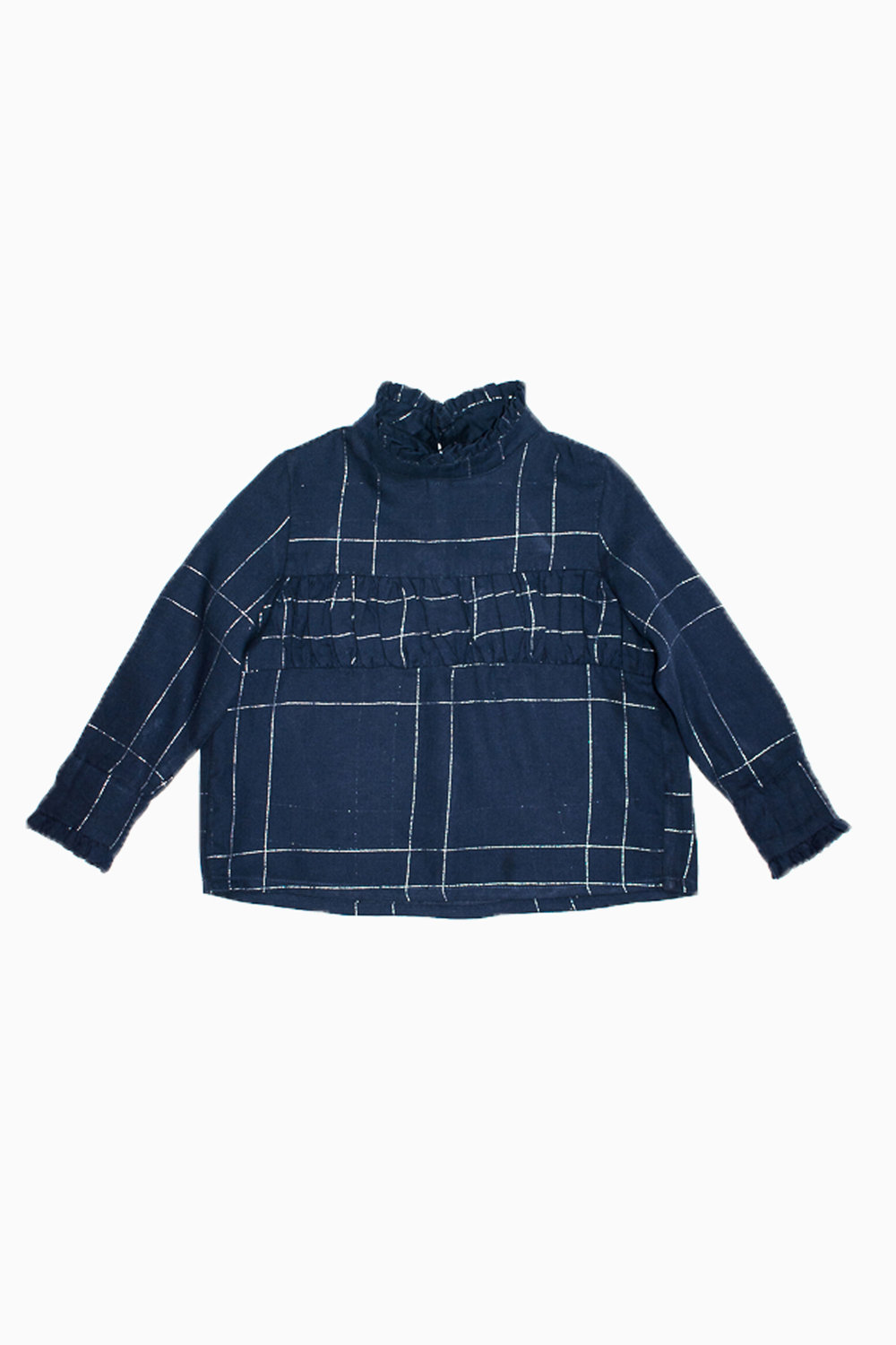 navy silver squared Lydia blouse