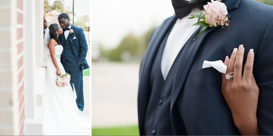 Navy Grooms Suit | beautiful bride and groom