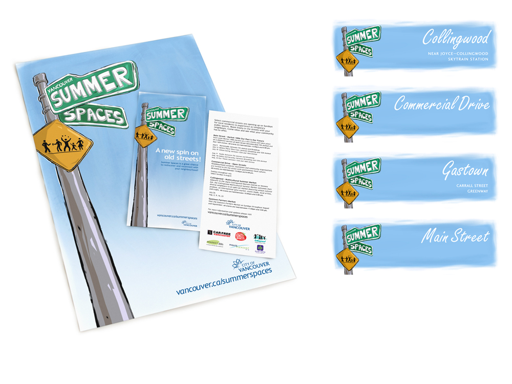 City of Vancouver Summer Spaces Poster, Rack Card and Web Banners