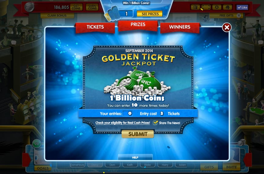 Gamehouse Casino Contest Screen