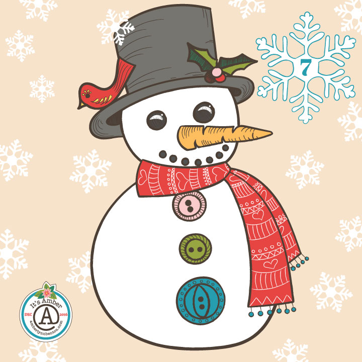 Cheerful Snowman by Amber Lynn Benton for #ItsAdvent 2016