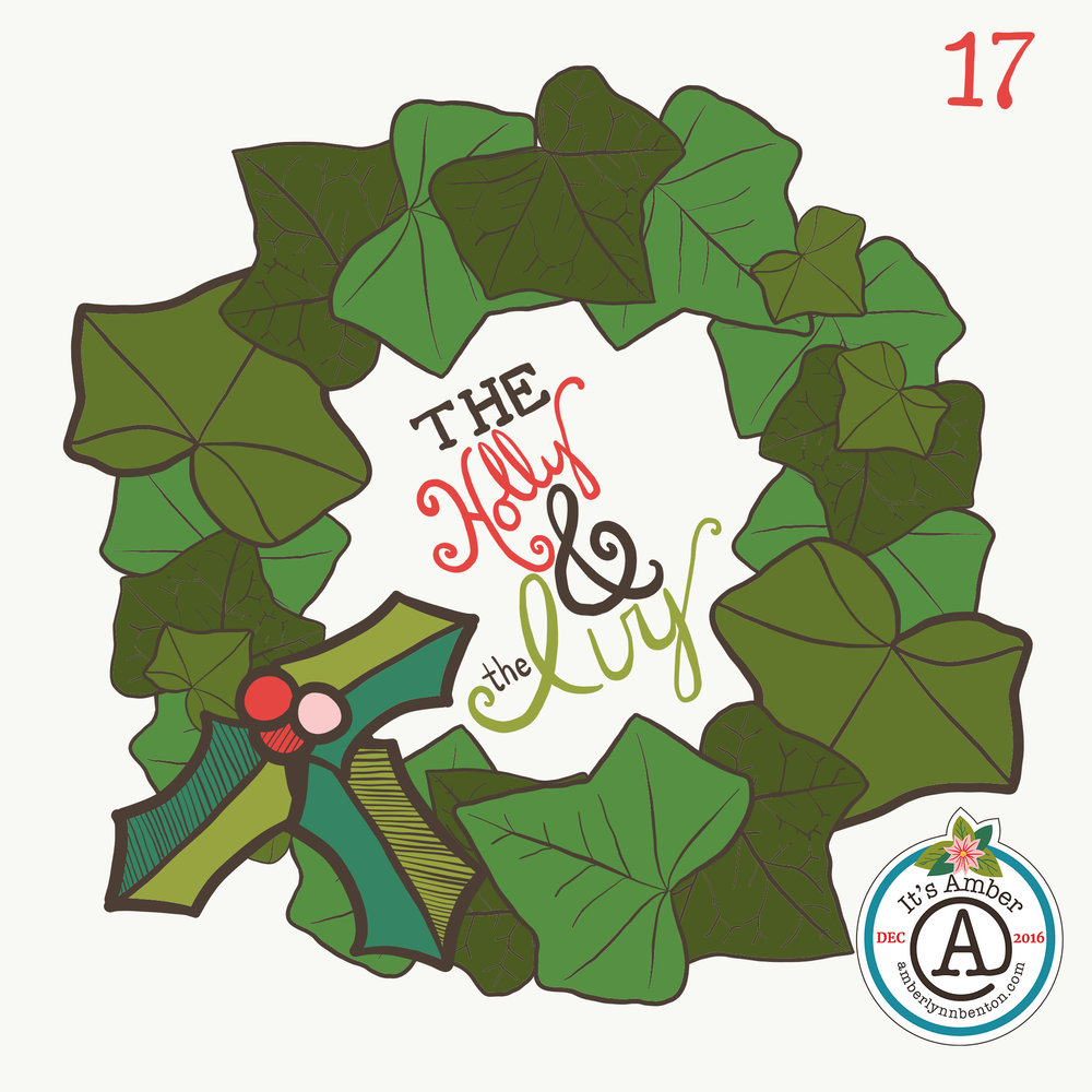Holly and Ivy Wreath by Amber Lynn Benton for #ItsAdvent2016