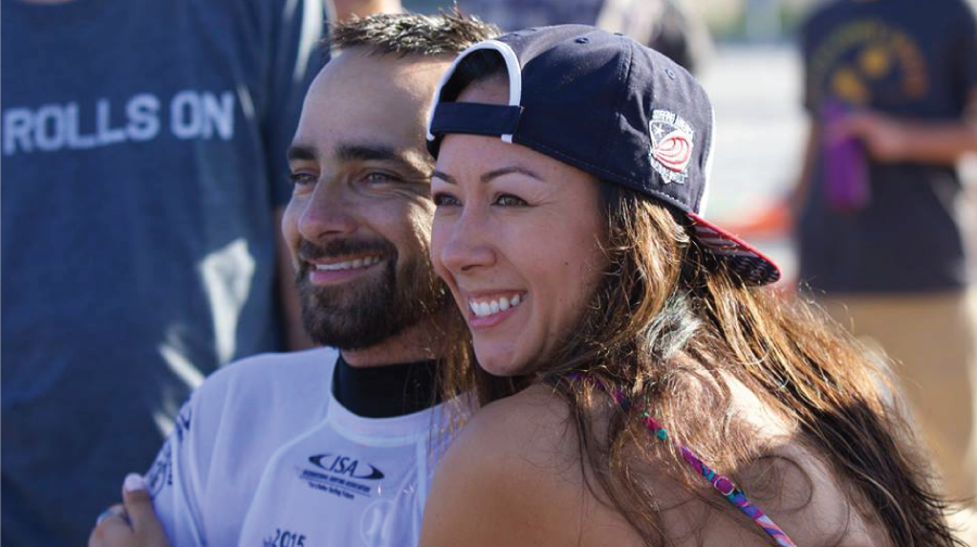 All smiles after winning the ISA World Championships (with his beautiful wife, Sam Billauer) Photo: C. Mudlo