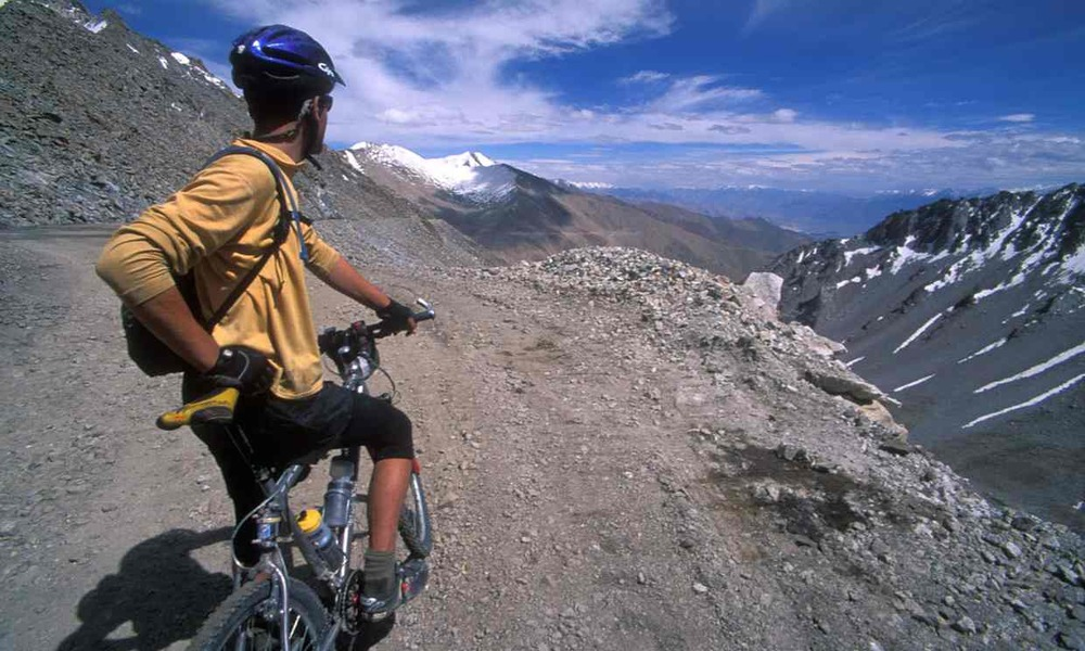 Mountain bike touring in Ladakh, India. Photograph: Alamy