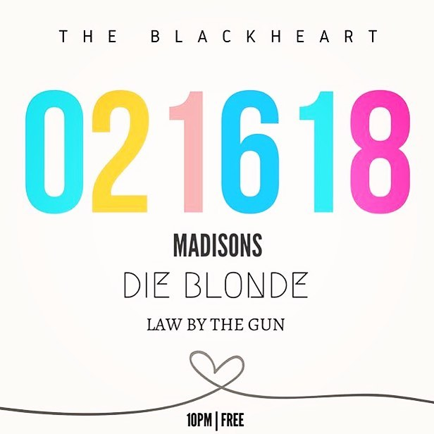 Also, this! Friday Feb. 16 we got that Cinderella spot @blackheartbar alongside the fine folks of @madisonsatx and @lawbythegun. 💋🤘🏼💖 . . . . . . #austinmusic #atx #texas #livemusic #dieblondeband #dieblonde #onlythegooddieblonde #livefastdieblonde #blackheart #raineystreet #party #chill #tgif #do512 #whattodo