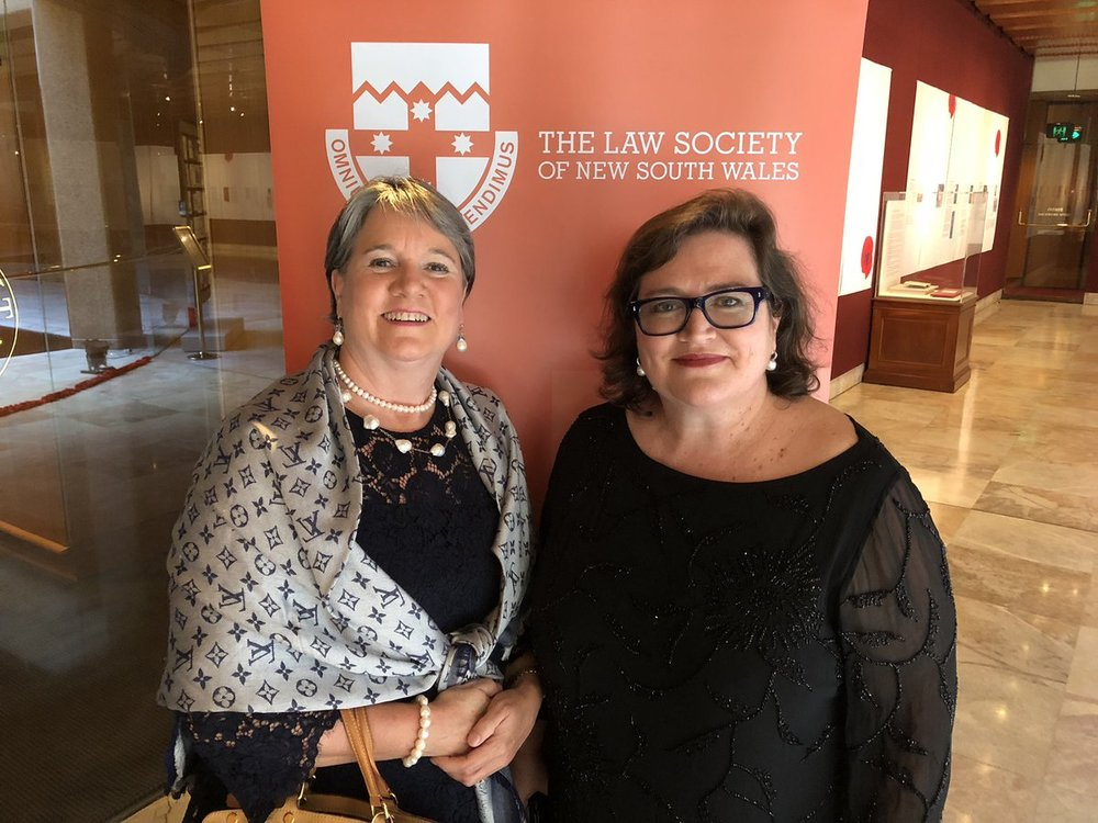 Jennifer Batrouney QC, President, Australian Bar Association, and Dominique Hogan-Doran SC at the First 100 Years Gala Dinner at NSW Parliament House, 26 November 2018.