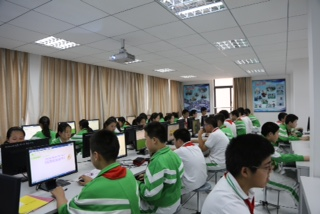 Students completing StayingFit in China.