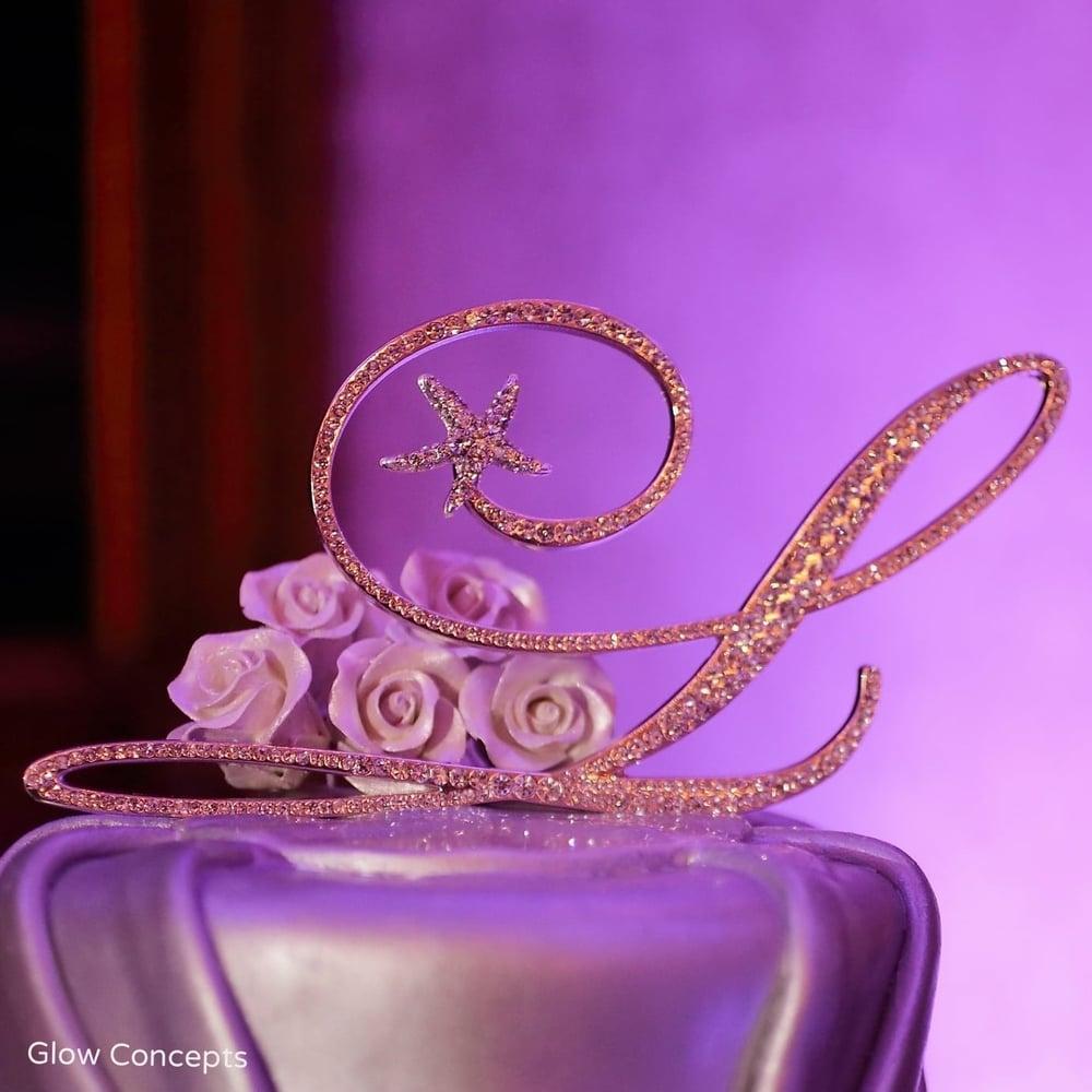 Letter L gold rhinestone cake topper