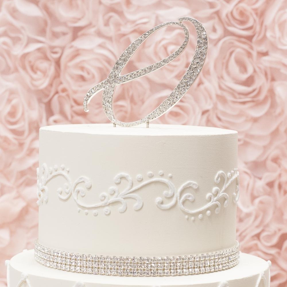 Letter O silver metal rhinestone cake topper