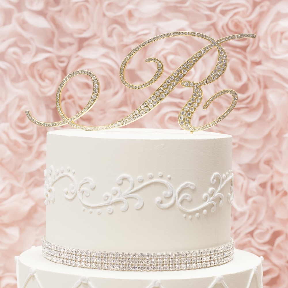 Letter R gold metal rhinestone cake topper