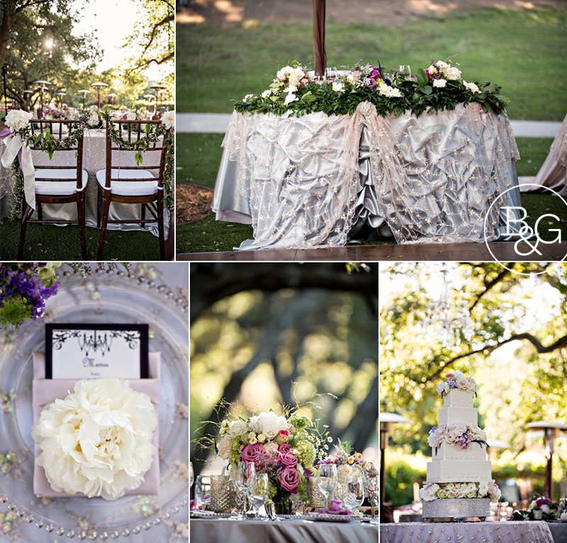 "Sweetheart seating: silver essense Shantung with champagne pearl sequin overlay and completed with the waterfall bustle and silver rosette brooch details | Cake table: 18"" silver rhinestone round cake stand for the cake and sultry beige linen with the champagne pearl sequin overlay"