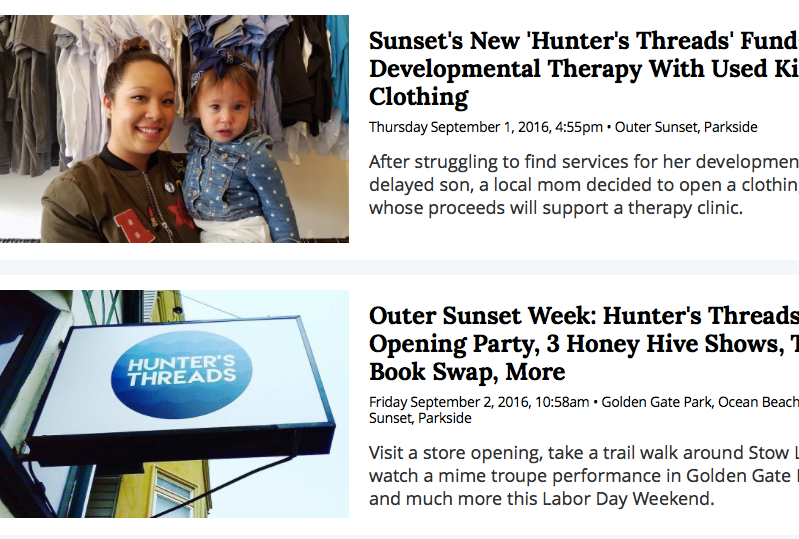 HOODLINE  - Sunset's New 'Hunter's Threads' Funds Developmental Therapy With Used Kids' Clothing