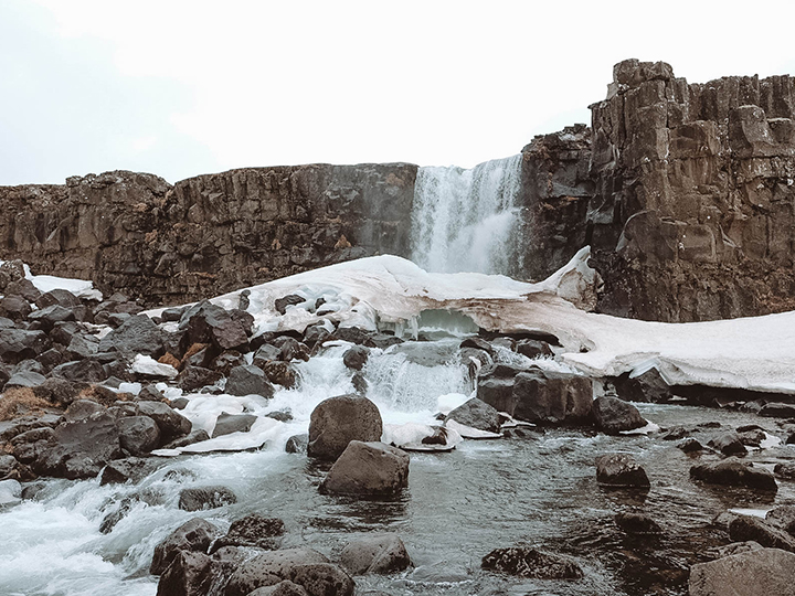 Oxararfoss Waterfall at Þingvellir (Thingvellir) National Park