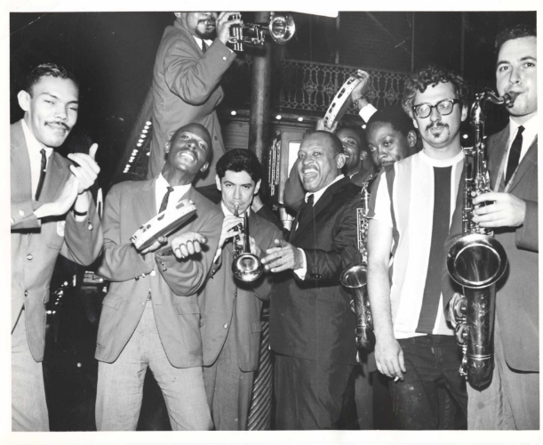 Pete Yellin (far right) with Lionel Hampton Band, New Orleans