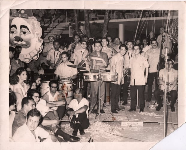 Pete Yellin with Tito Puente and band in Puerto Rico, 1960s