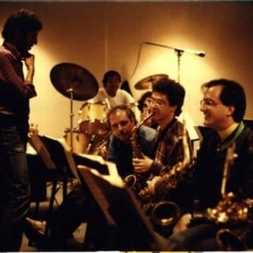 Bob Mintzer Big Band Sax section: Bob Malach, Pete Yellin, Lawrence Feldman, Roger Rosenberg Clinton Studios NYC 1986
