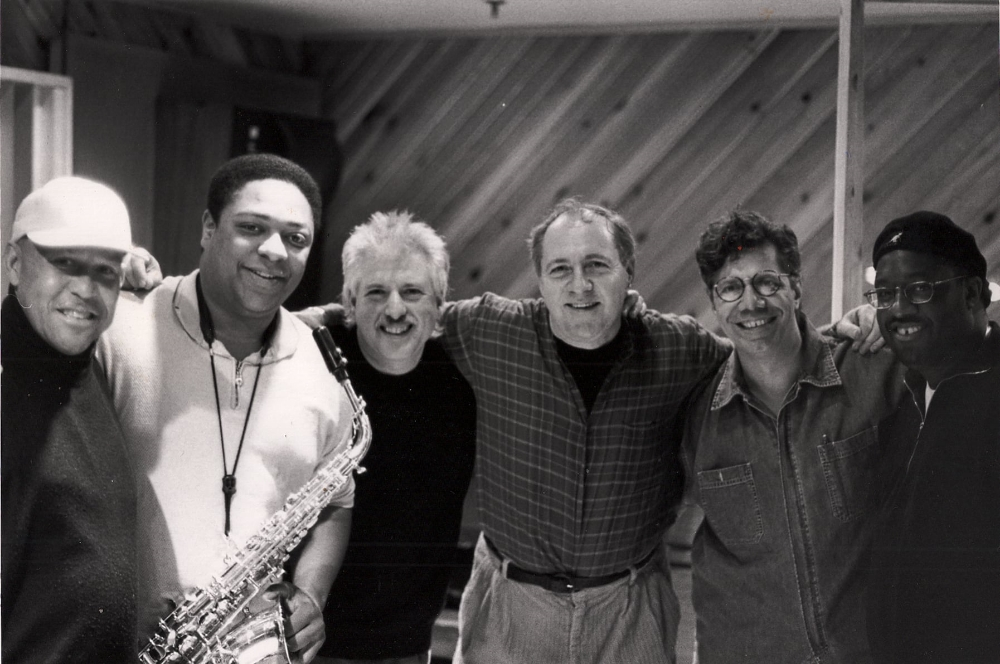 "Session photo for ""Mellow Soul"" CD. In this photo: L-R: Eddie Henderson, Vincent Herring, Harvie S Bass, Pete Yellin, Chick Corea, and Carl Allen. Photo copyright: Peter Leitch"