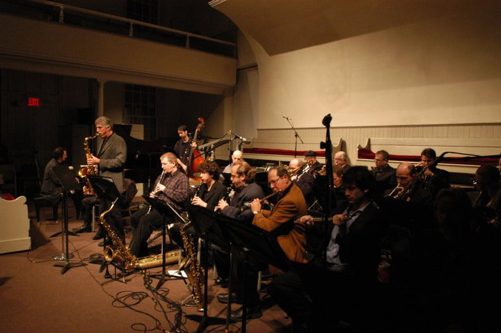 Pete Yellin at MLK Birthday Concert at Meetinghouse in NYC 2008. Meetinghouse Jazz Orchestra with Bob Mintzer, guest soloist