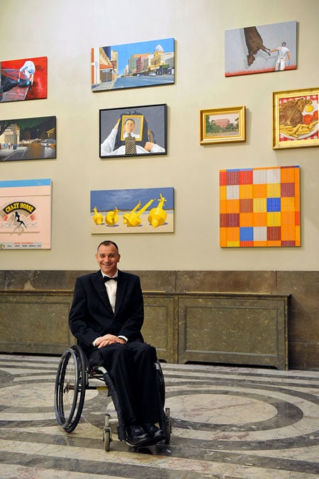 Richard Maurovic at Australia House, London UK, with his collection for the Saatchi Gallery.