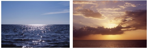 Left: Graham Fagen, 'West Coast Looking West (Atlantic)', colour    photograph, 2006   Right: Graham Fagen, 'East Coast Looking East    (Caribbean)', colour photograph, 2007
