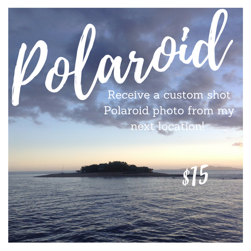 Receive a custom shot polaroid photo from my next location and support my travel blog