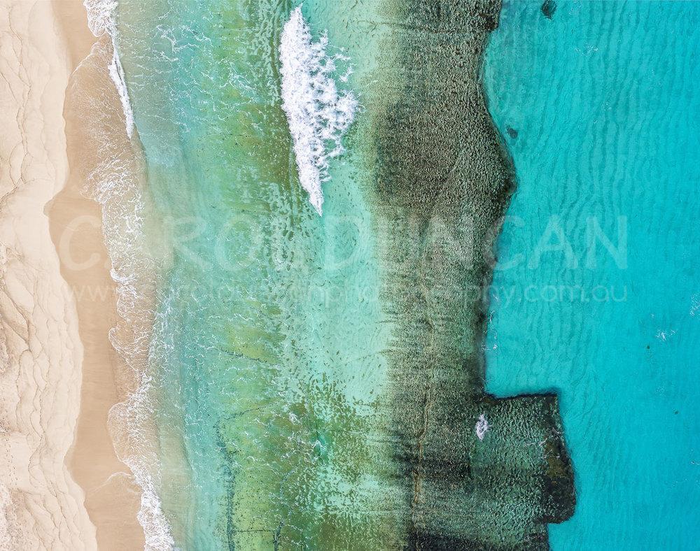 'Pristine I' (Aerial - Shelley Beach, near Albany) UV Ink on maple wood block 355x280mm $85 plus postage