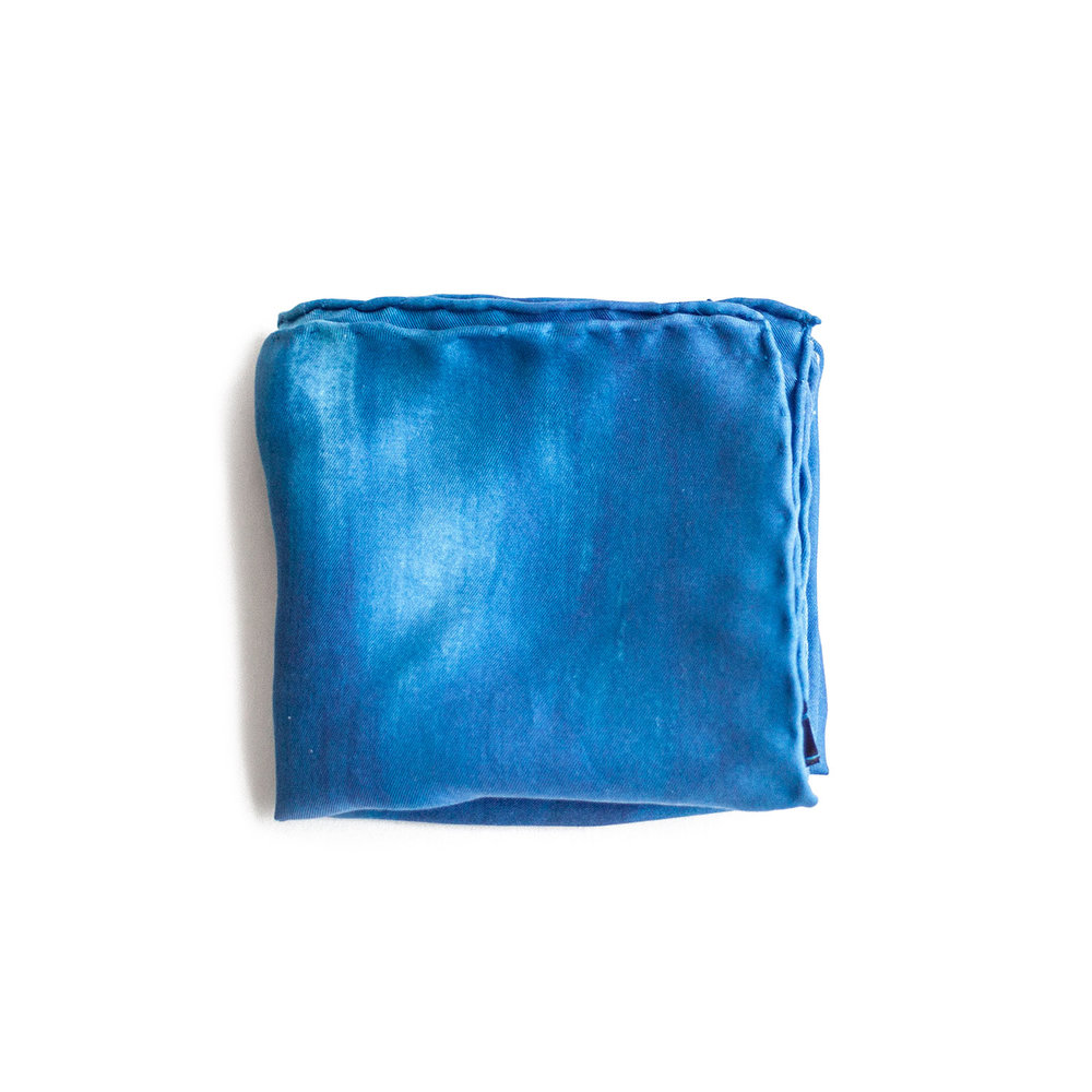 Blue Silk Pocket Square Mess of Blues yVton7