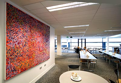 The painting ONEIRO installed at Bank of Ireland's Economic Headquarters, Mespil Road, Dublin.