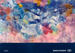 Bloo Persuasion  The painting 'Bloo Persuasion', acquired by the Bank of Ireland's public collection, was used as the cover image for the calendar in 2004.