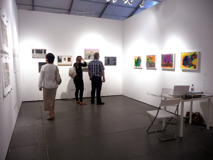 Four artworks on glass at Dublins, Peppercannister Gallery Booth at SCOPE, ART BASEL, 2012.