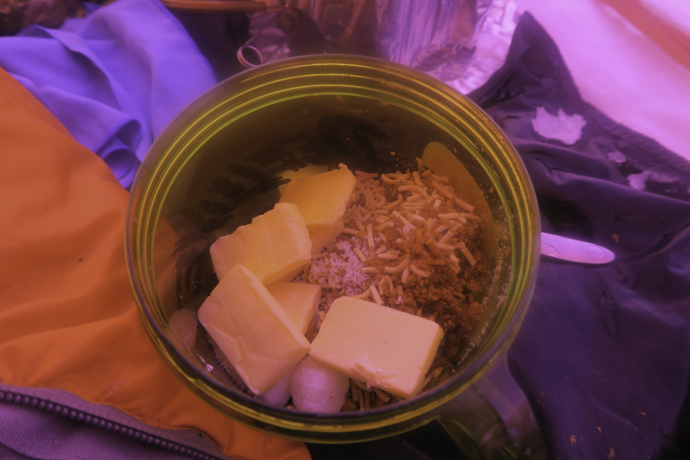 During my Siberia expedition I added butter to boost calorie and fat intake 50 cal per sachet.