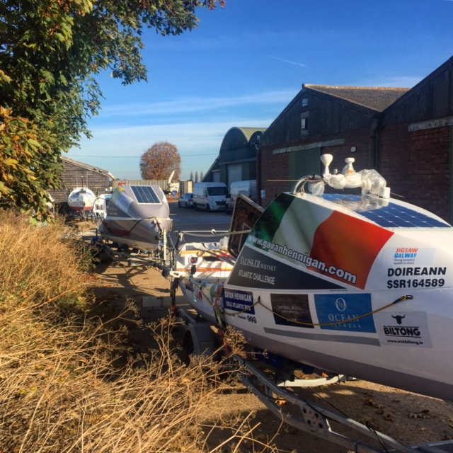 Doireann sat ready with the other boats ready to ship.