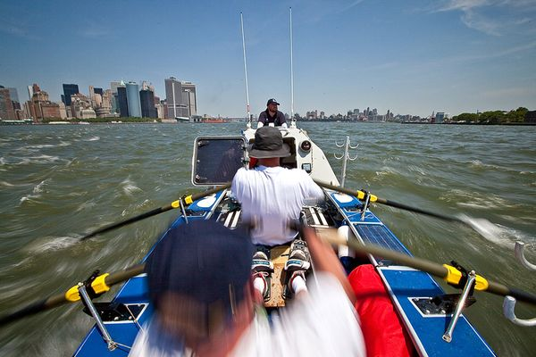 Leven and crew flying down the Hudson River after leaving Battery Park.