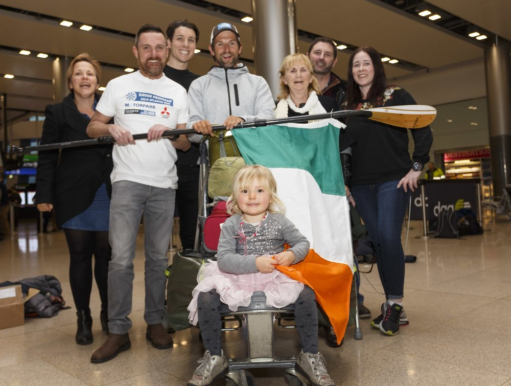 Homecoming at Dublin Aiport post Row, Doireann in the front with all the people who mattered the most.