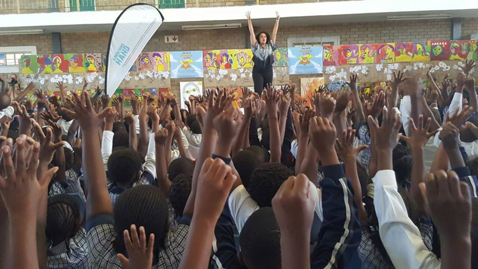 Our wonderful facilitator, South African actress and producer Lee-Ann van Rooi doing a fabulous job at entertaining the children.