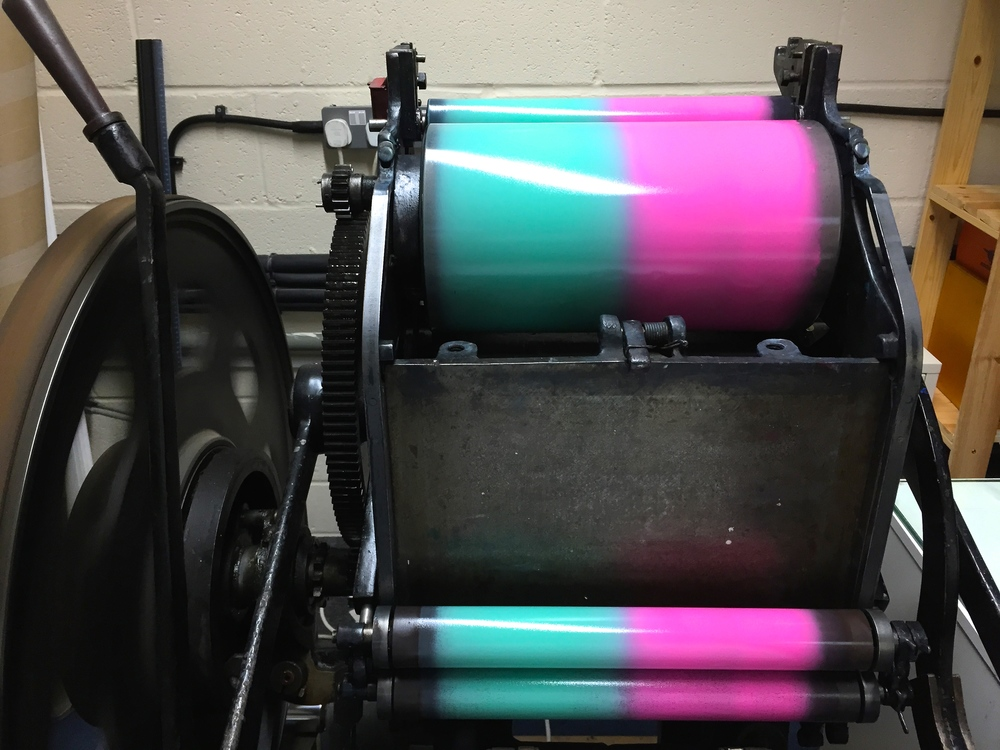 Inkys First Kickstarter - Vicobold Letterpress Pink and Mint Split Fountain - Inky Collective Blog