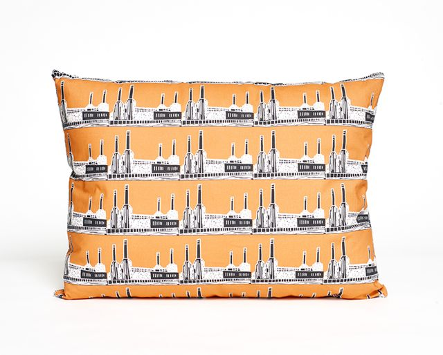 MadeByMrsM Warehouse Home Battersea Power Station cushion orange